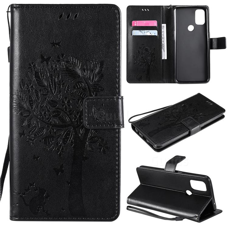Embossing Butterfly Tree Leather Wallet Case for OnePlus Nord N10 5G - Black