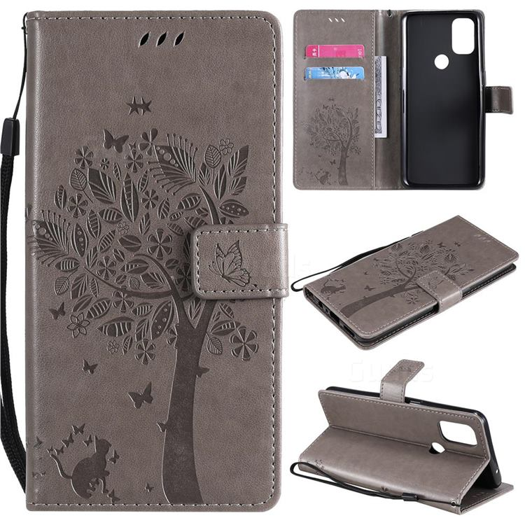 Embossing Butterfly Tree Leather Wallet Case for OnePlus Nord N10 5G - Grey