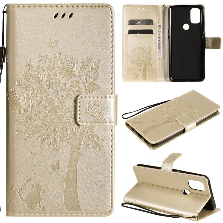 Embossing Butterfly Tree Leather Wallet Case for OnePlus Nord N10 5G - Champagne