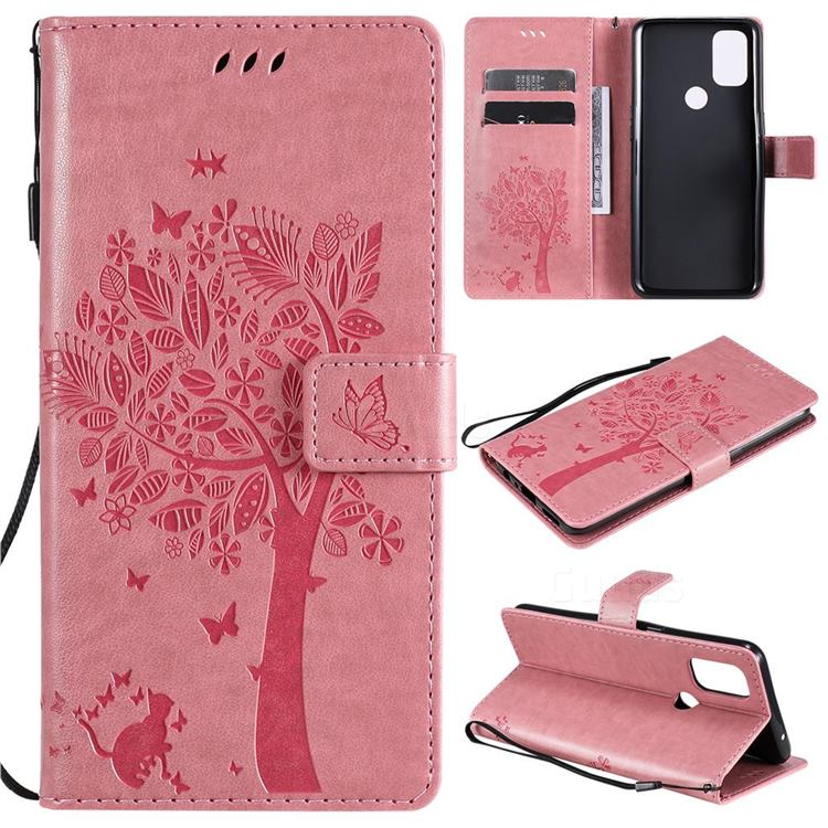 Embossing Butterfly Tree Leather Wallet Case for OnePlus Nord N10 5G - Pink