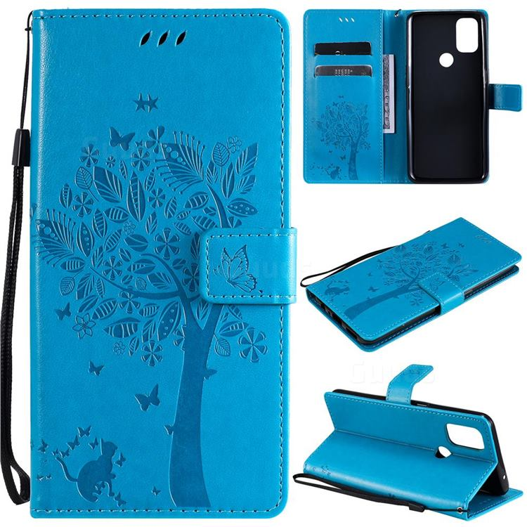 Embossing Butterfly Tree Leather Wallet Case for OnePlus Nord N10 5G - Blue