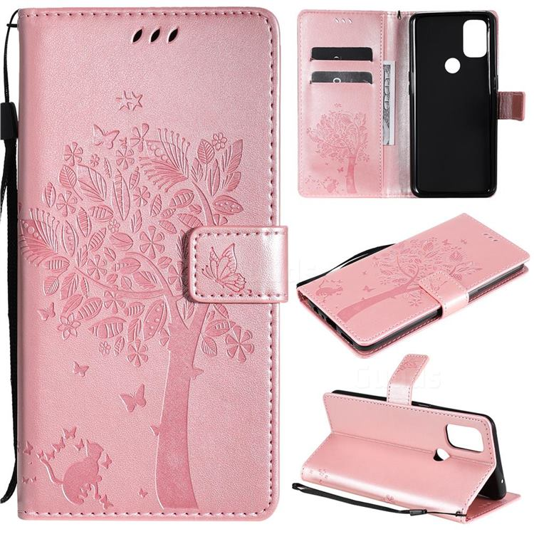 Embossing Butterfly Tree Leather Wallet Case for OnePlus Nord N10 5G - Rose Pink