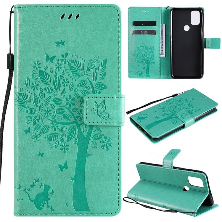 Embossing Butterfly Tree Leather Wallet Case for OnePlus Nord N10 5G - Cyan