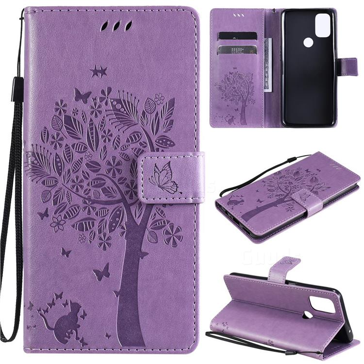 Embossing Butterfly Tree Leather Wallet Case for OnePlus Nord N10 5G - Violet