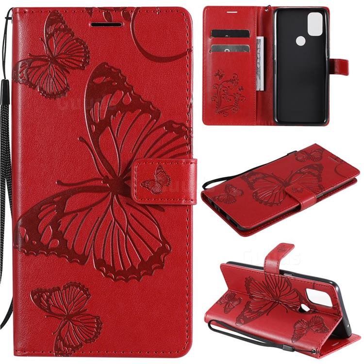 Embossing 3D Butterfly Leather Wallet Case for OnePlus Nord N10 5G - Red