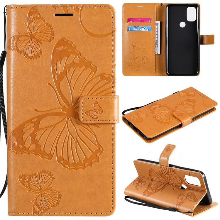 Embossing 3D Butterfly Leather Wallet Case for OnePlus Nord N10 5G - Yellow