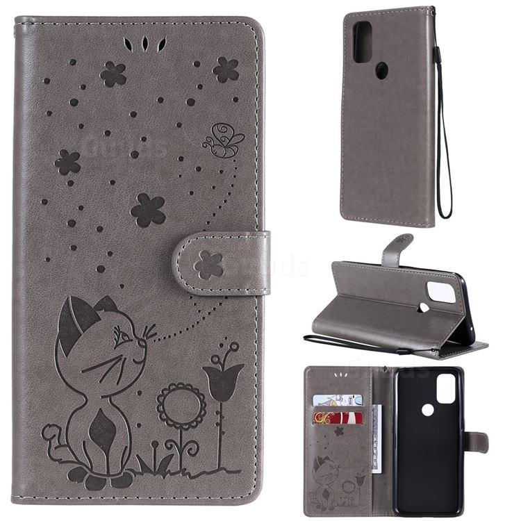 Embossing Bee and Cat Leather Wallet Case for OnePlus Nord N10 5G - Gray