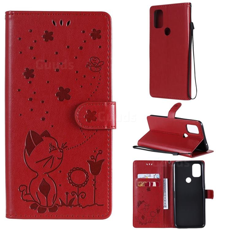 Embossing Bee and Cat Leather Wallet Case for OnePlus Nord N10 5G - Red