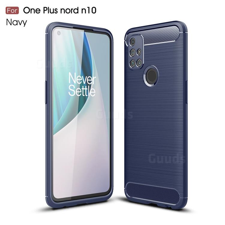 Luxury Carbon Fiber Brushed Wire Drawing Silicone TPU Back Cover for OnePlus Nord N10 5G - Navy