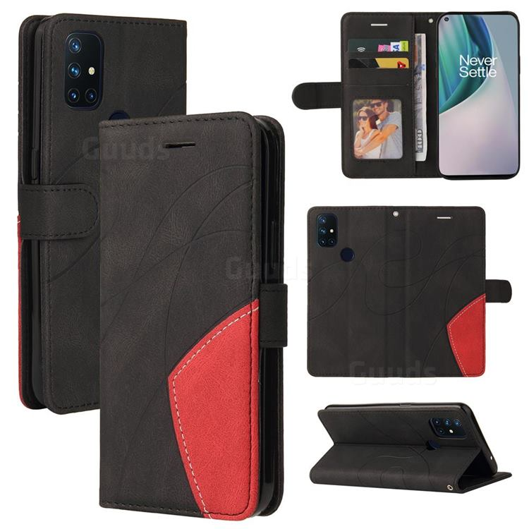 Luxury Two-color Stitching Leather Wallet Case Cover for OnePlus Nord N10 5G - Black