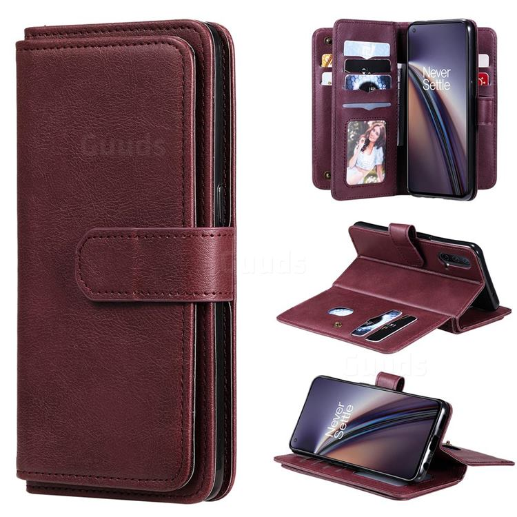 Multi-function Ten Card Slots and Photo Frame PU Leather Wallet Phone Case Cover for OnePlus Nord CE 5G (Nord Core Edition 5G) - Claret