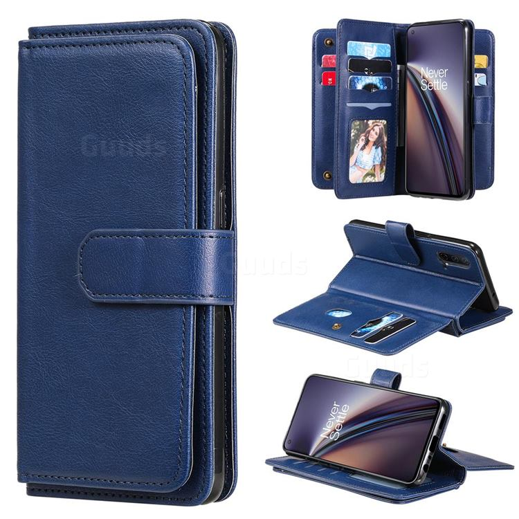 Multi-function Ten Card Slots and Photo Frame PU Leather Wallet Phone Case Cover for OnePlus Nord CE 5G (Nord Core Edition 5G) - Dark Blue