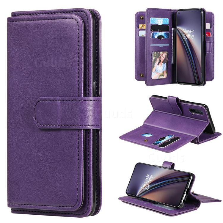 Multi-function Ten Card Slots and Photo Frame PU Leather Wallet Phone Case Cover for OnePlus Nord CE 5G (Nord Core Edition 5G) - Violet