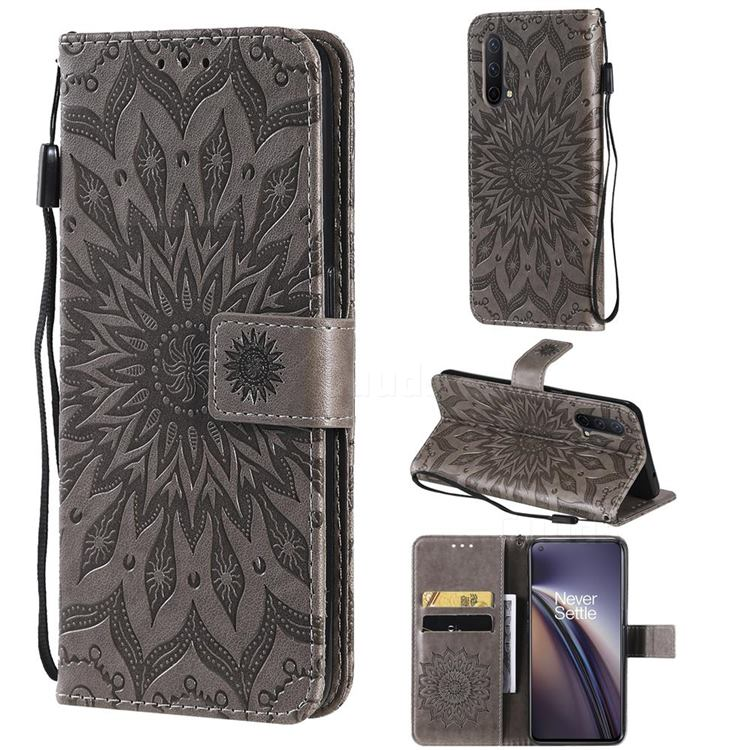 Embossing Sunflower Leather Wallet Case for OnePlus Nord CE 5G (Nord Core Edition 5G) - Gray