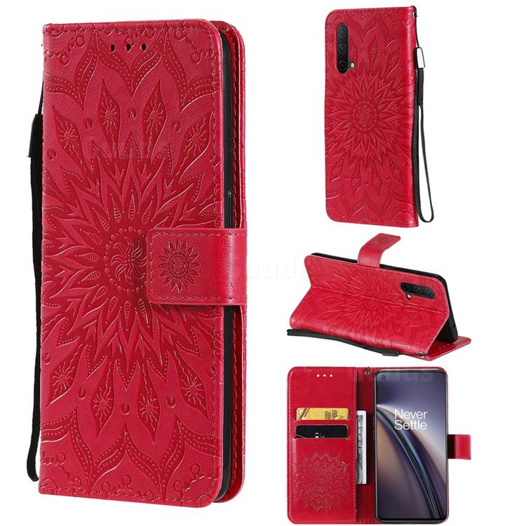 Embossing Sunflower Leather Wallet Case for OnePlus Nord CE 5G (Nord Core Edition 5G) - Red