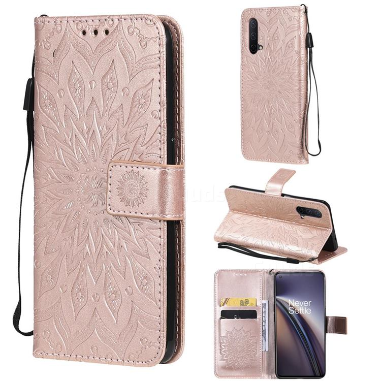 Embossing Sunflower Leather Wallet Case for OnePlus Nord CE 5G (Nord Core Edition 5G) - Rose Gold