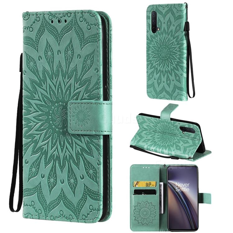 Embossing Sunflower Leather Wallet Case for OnePlus Nord CE 5G (Nord Core Edition 5G) - Green