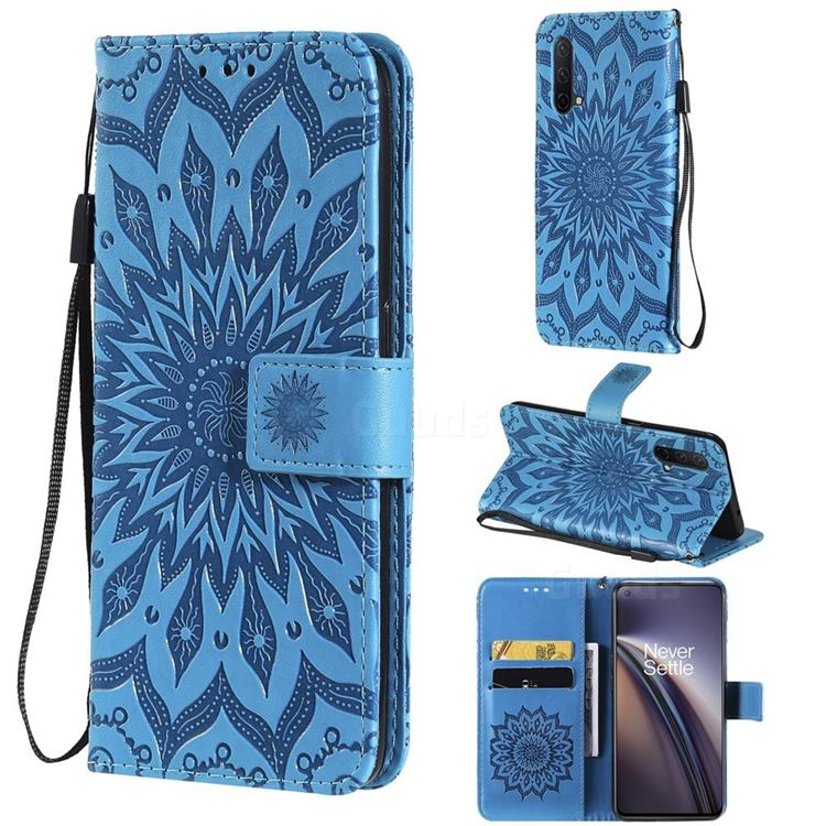 Embossing Sunflower Leather Wallet Case for OnePlus Nord CE 5G (Nord Core Edition 5G) - Blue