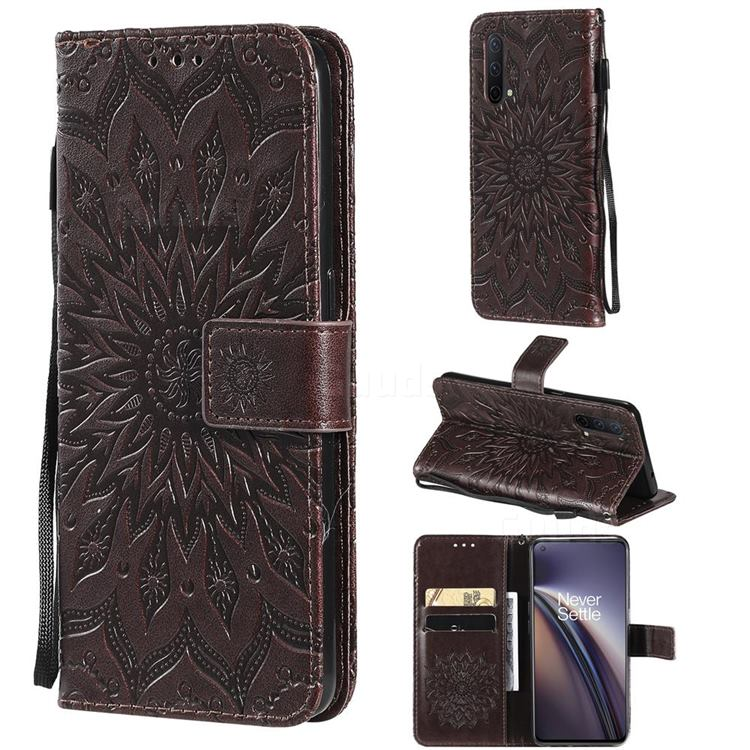 Embossing Sunflower Leather Wallet Case for OnePlus Nord CE 5G (Nord Core Edition 5G) - Brown