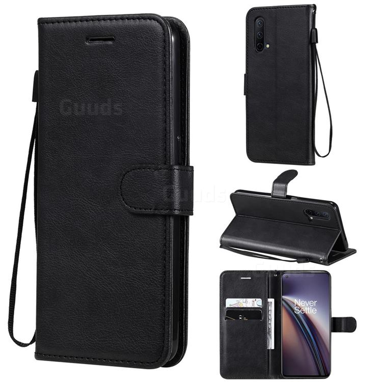 Retro Greek Classic Smooth PU Leather Wallet Phone Case for OnePlus Nord CE 5G (Nord Core Edition 5G) - Black