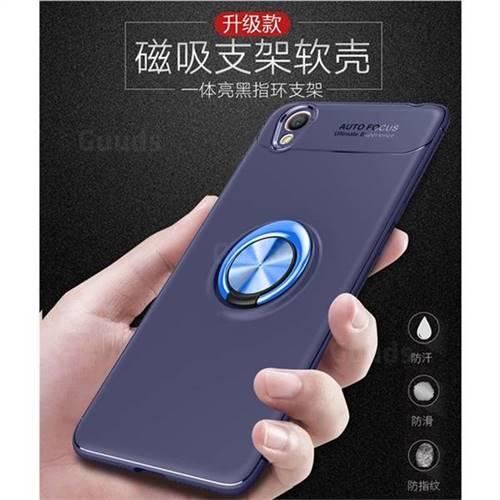 promo code 4a35d aa71f Auto Focus Invisible Ring Holder Soft Phone Case for Oppo A37 - Blue