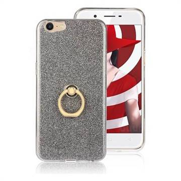 Luxury Soft TPU Glitter Back Ring Cover with 360 Rotate Finger Holder Buckle for Oppo A39 - Black