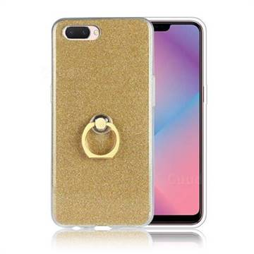 Luxury Soft TPU Glitter Back Ring Cover with 360 Rotate Finger Holder  Buckle for Oppo A3s (Oppo A5) - Golden