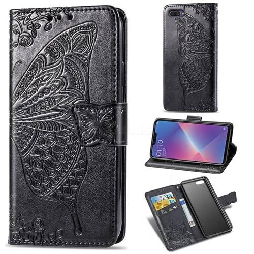Embossing Mandala Flower Butterfly Leather Wallet Case for Oppo A3s (Oppo A5) - Black
