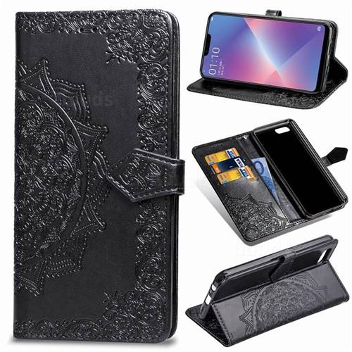 Embossing Imprint Mandala Flower Leather Wallet Case for Oppo A3s (Oppo A5) - Black