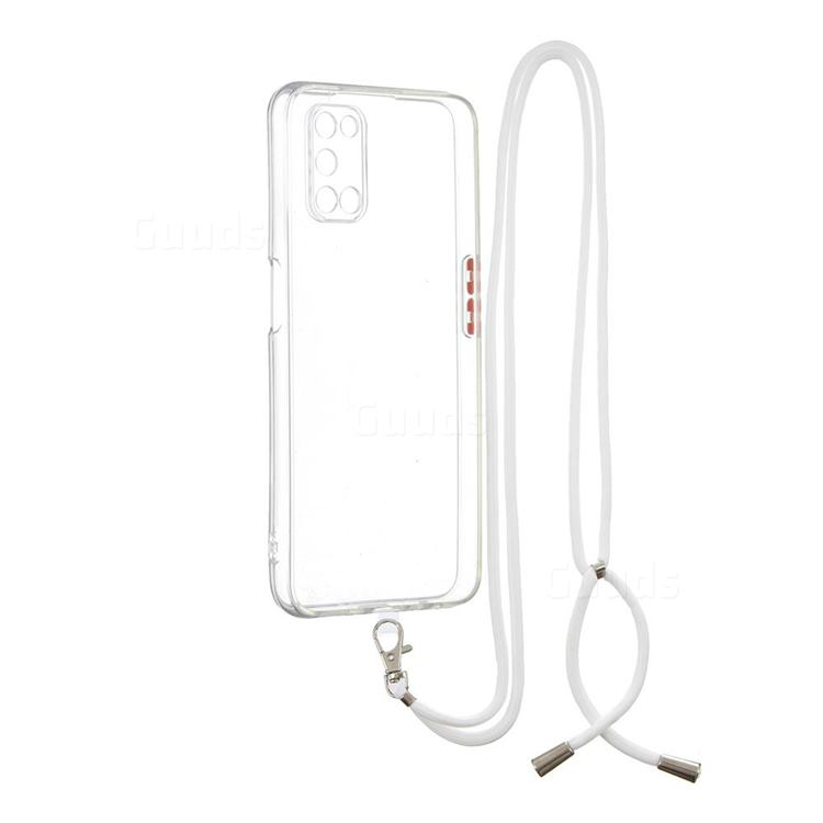 Necklace Cross-body Lanyard Strap Cord Phone Case Cover for Oppo A52 - Transparent