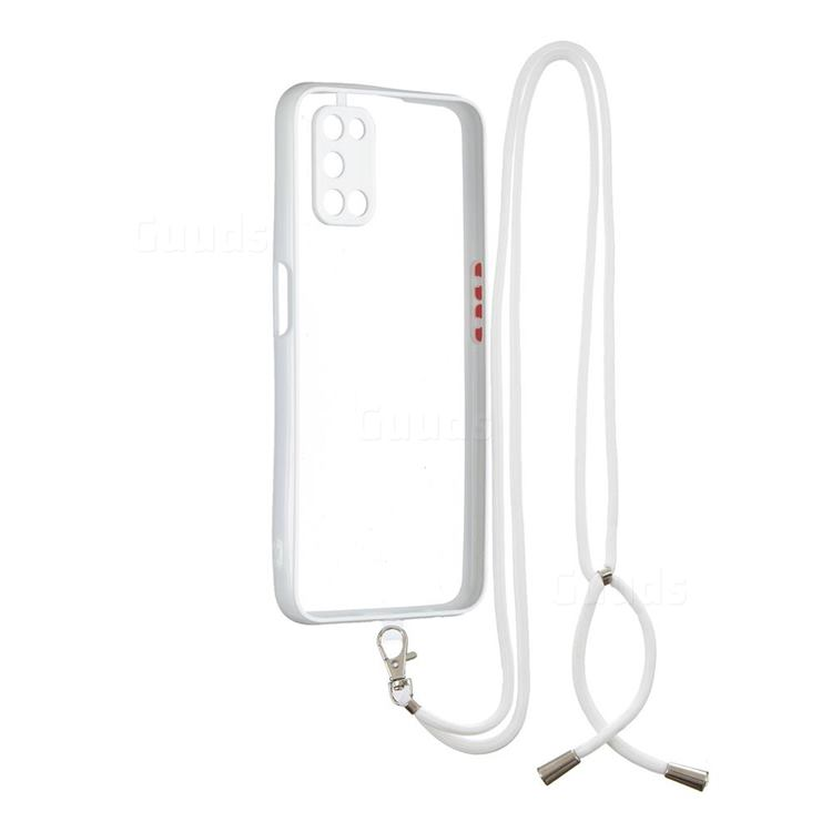 Necklace Cross-body Lanyard Strap Cord Phone Case Cover for Oppo A52 - White
