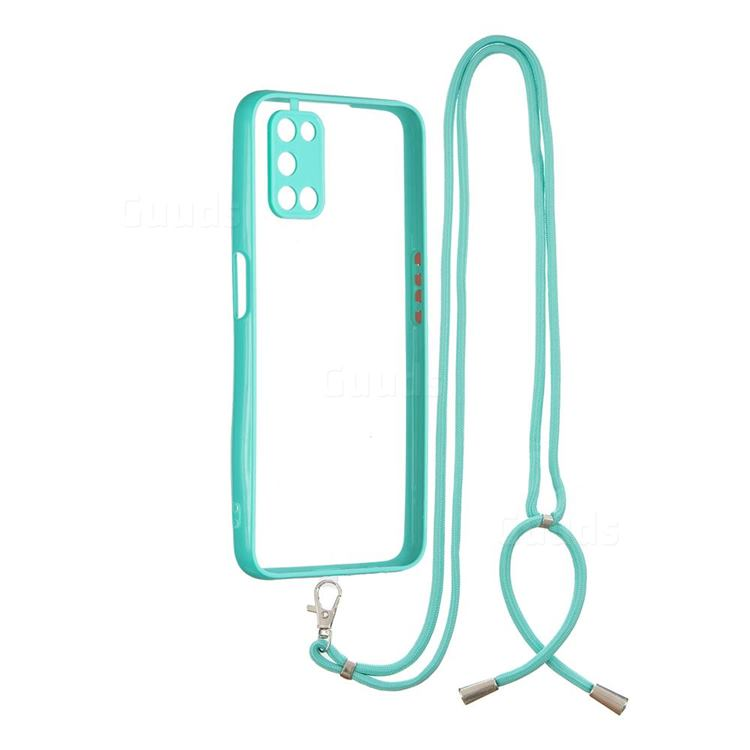 Necklace Cross-body Lanyard Strap Cord Phone Case Cover for Oppo A52 - Blue