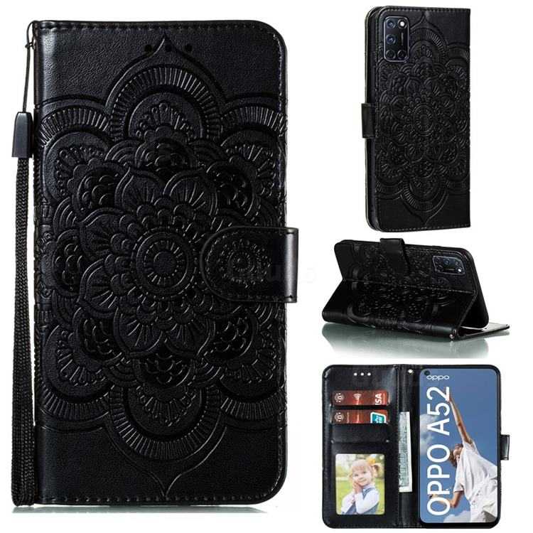 Intricate Embossing Datura Solar Leather Wallet Case for Oppo A52 - Black