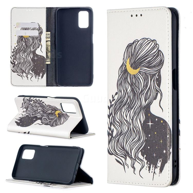 Girl with Long Hair Slim Magnetic Attraction Wallet Flip Cover for Oppo A52