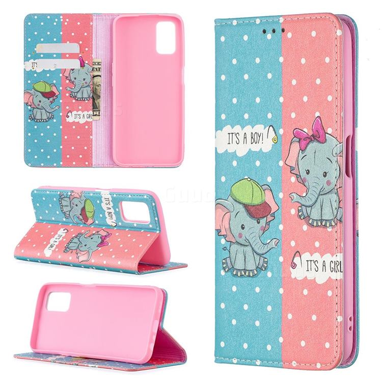 Elephant Boy and Girl Slim Magnetic Attraction Wallet Flip Cover for Oppo A52