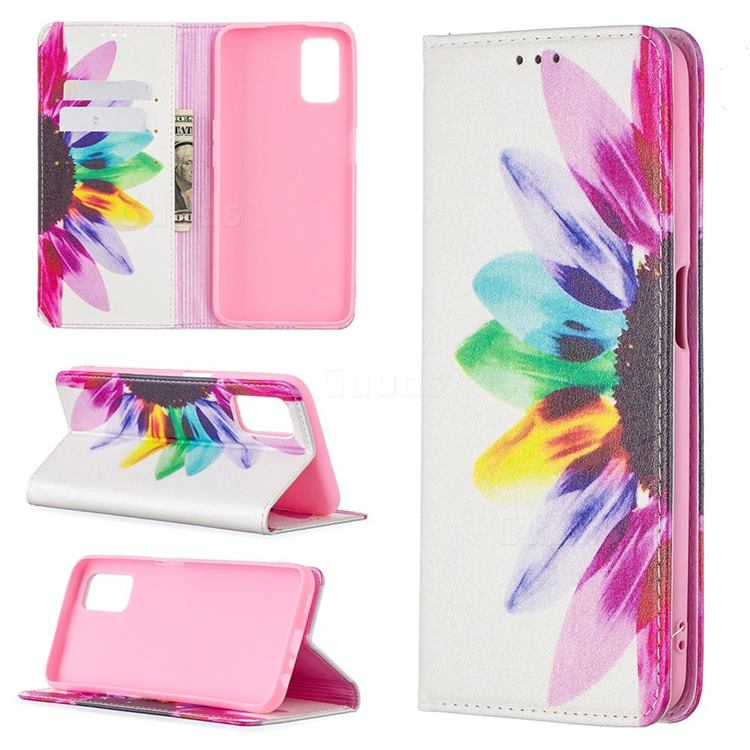 Sun Flower Slim Magnetic Attraction Wallet Flip Cover for Oppo A52