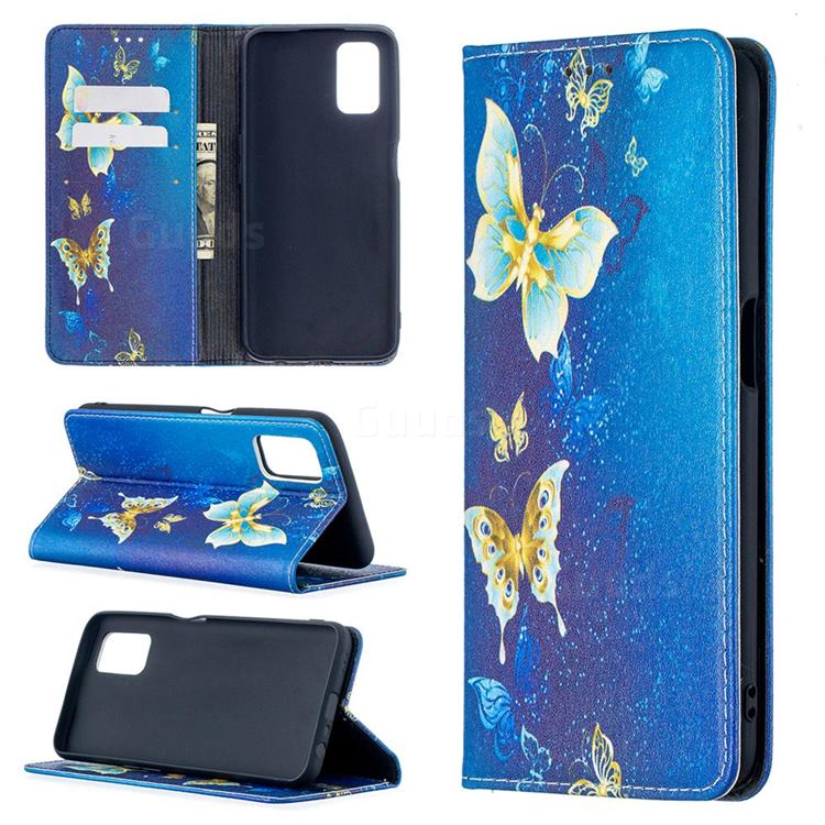 Gold Butterfly Slim Magnetic Attraction Wallet Flip Cover for Oppo A52