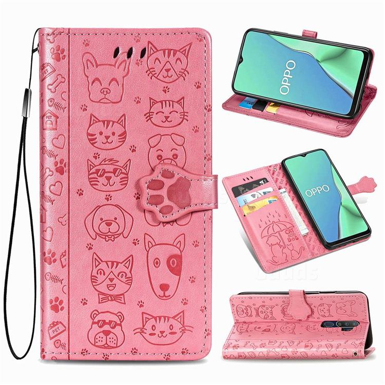 Embossing Dog Paw Kitten and Puppy Leather Wallet Case for Oppo A5 (2020) - Pink