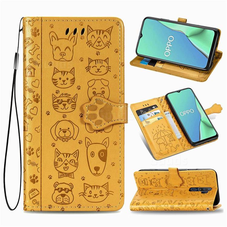 Embossing Dog Paw Kitten and Puppy Leather Wallet Case for Oppo A5 (2020) - Yellow