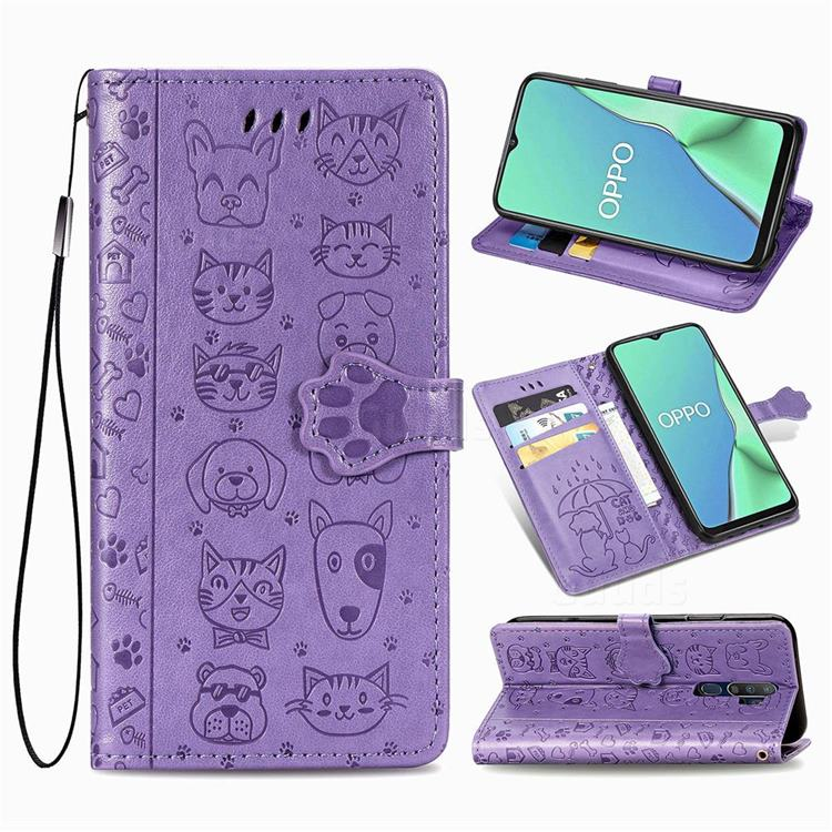 Embossing Dog Paw Kitten and Puppy Leather Wallet Case for Oppo A5 (2020) - Purple