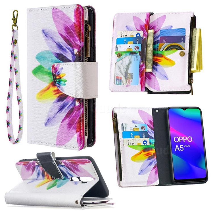Seven-color Flowers Binfen Color BF03 Retro Zipper Leather Wallet Phone Case for Oppo A5 (2020)