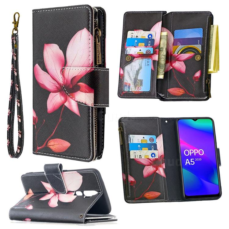 Lotus Flower Binfen Color BF03 Retro Zipper Leather Wallet Phone Case for Oppo A5 (2020)