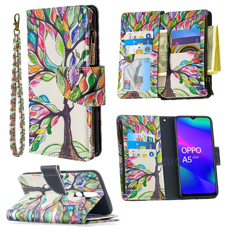 The Tree of Life Binfen Color BF03 Retro Zipper Leather Wallet Phone Case for Oppo A5 (2020)