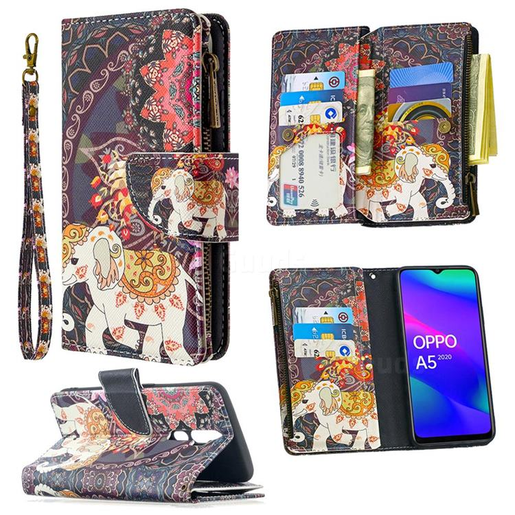 Totem Flower Elephant Binfen Color BF03 Retro Zipper Leather Wallet Phone Case for Oppo A5 (2020)