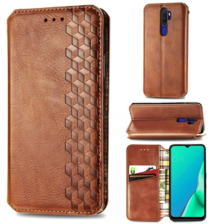 Ultra Slim Fashion Business Card Magnetic Automatic Suction Leather Flip Cover for Oppo A5 (2020) - Brown