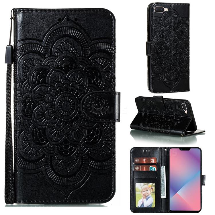 Intricate Embossing Datura Solar Leather Wallet Case for Oppo A5 (2020) - Black