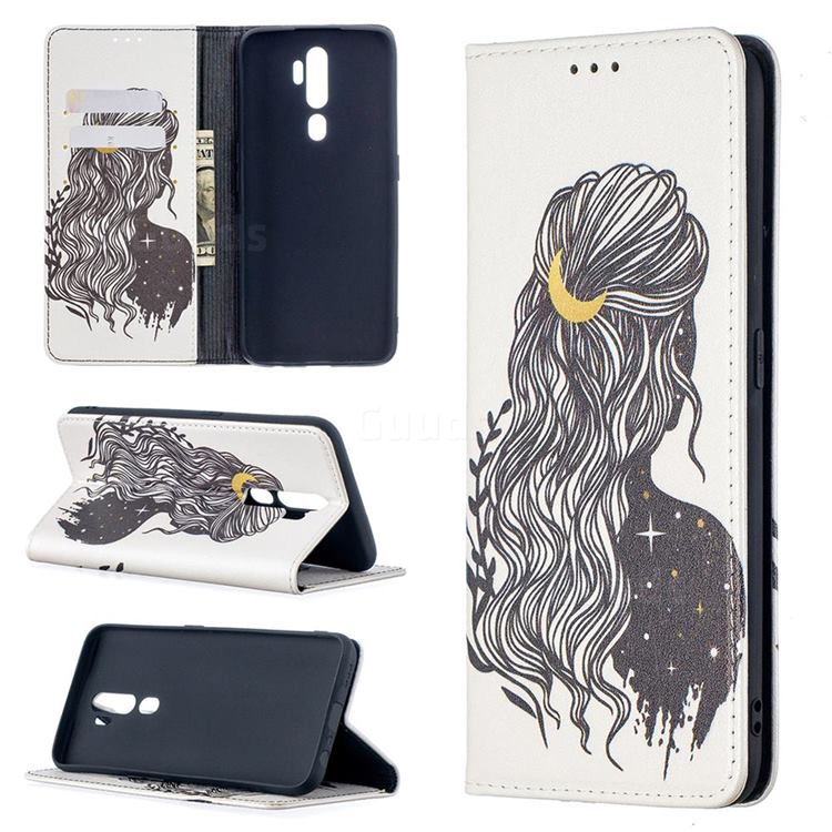 Girl with Long Hair Slim Magnetic Attraction Wallet Flip Cover for Oppo A5 (2020)