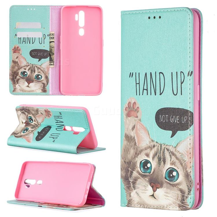 Hand Up Cat Slim Magnetic Attraction Wallet Flip Cover for Oppo A5 (2020)
