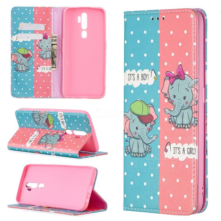 Elephant Boy and Girl Slim Magnetic Attraction Wallet Flip Cover for Oppo A5 (2020)