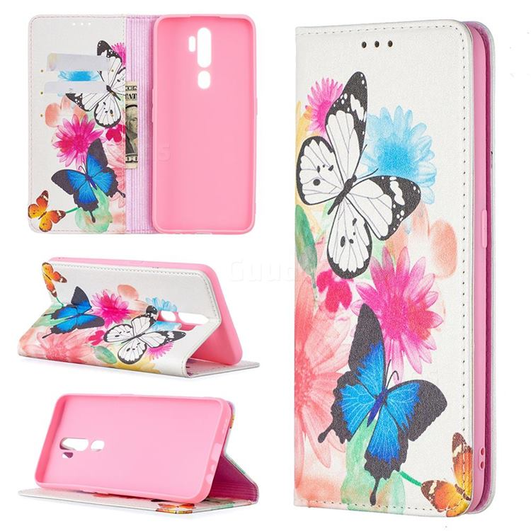 Flying Butterflies Slim Magnetic Attraction Wallet Flip Cover for Oppo A5 (2020)